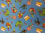NEW! AVENGERS BLUE BG HULK IRON MAN CAPTAIN AMERICA THOR SPIDERMAN MARVEL- Fabric - Price Per Metre
